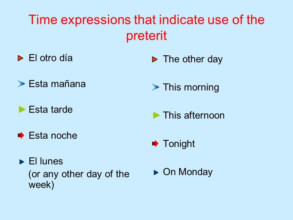 Time expressions that indicate use of the preterit La semana pasada El mes pasado El año pasado El fin de semana pasado Last week Last month Last year