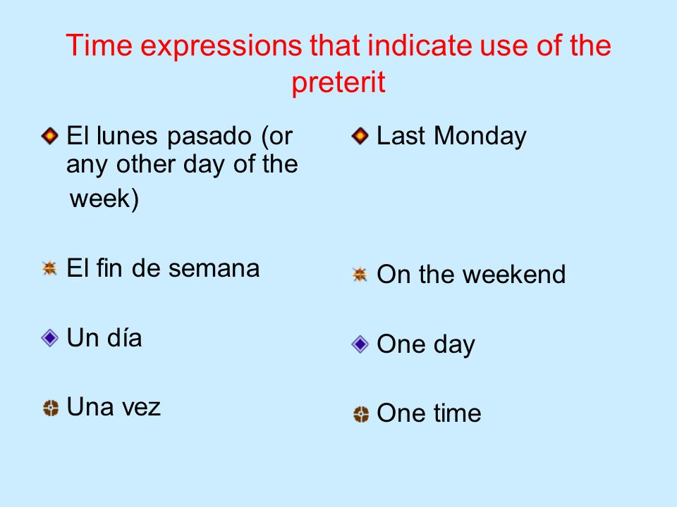 Time expressions that indicate use of the preterit El otro día Esta mañana Esta tarde Esta noche El lunes (or any other day of the week) The other day