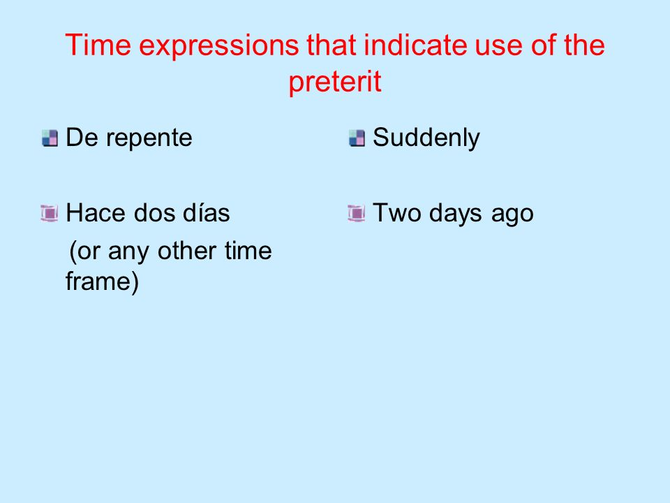 Time expressions that indicate use of the preterit El lunes pasado (or any other day of the week) El fin de semana Un día Una vez Last Monday On the w