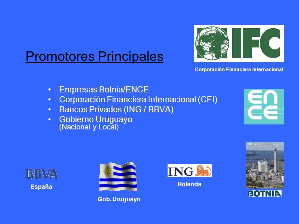 Promotores Principales Empresas Botnia/ENCE Corporación Financiera Internacional (CFI) Bancos Privados (ING / BBVA) Gobierno Uruguayo (Nacional y Loca