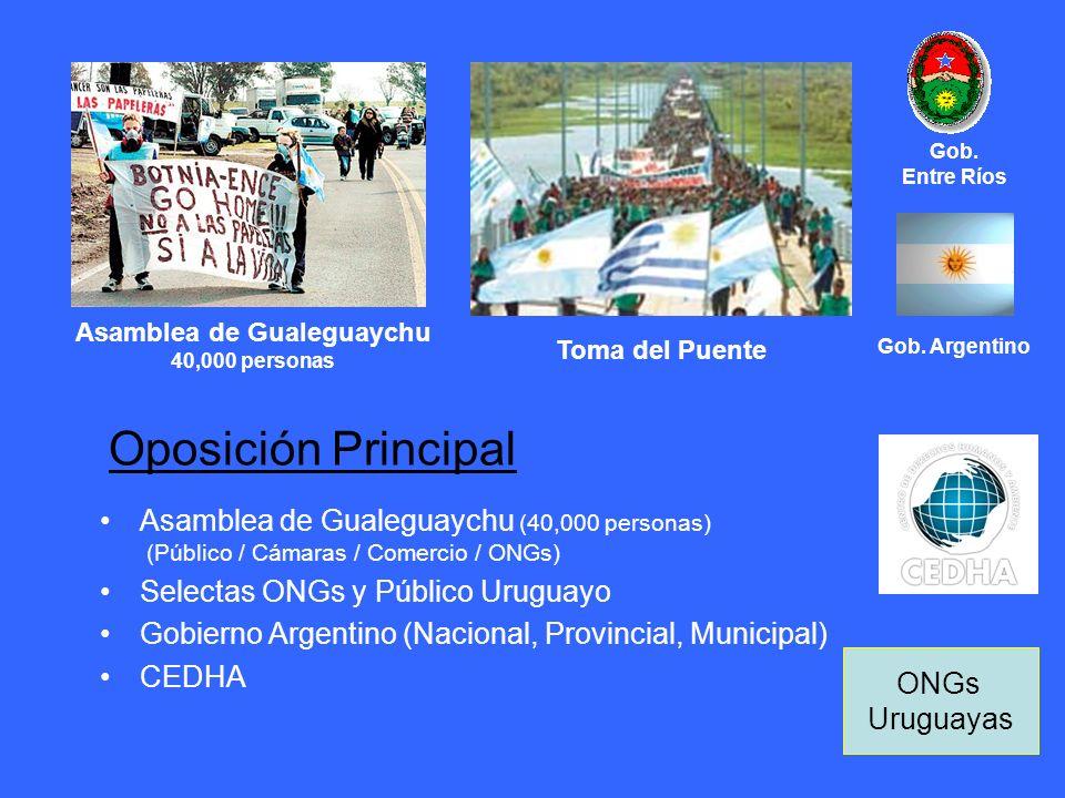 Oposición Principal Asamblea de Gualeguaychu (40,000 personas) (Público / Cámaras / Comercio / ONGs) Selectas ONGs y Público Uruguayo Gobierno Argenti