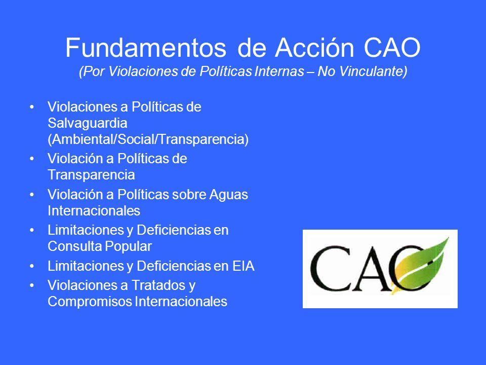 Fundamentos de Acción CAO (Por Violaciones de Políticas Internas – No Vinculante) Violaciones a Políticas de Salvaguardia (Ambiental/Social/Transparen
