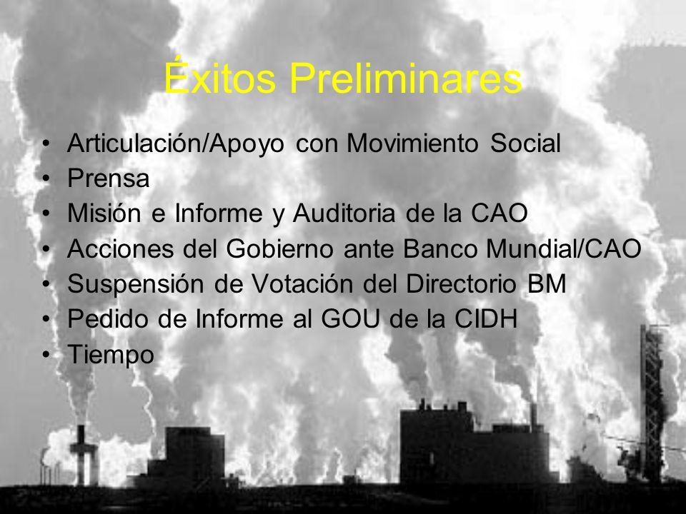 Éxitos Preliminares Articulación/Apoyo con Movimiento Social Prensa Misión e Informe y Auditoria de la CAO Acciones del Gobierno ante Banco Mundial/CA
