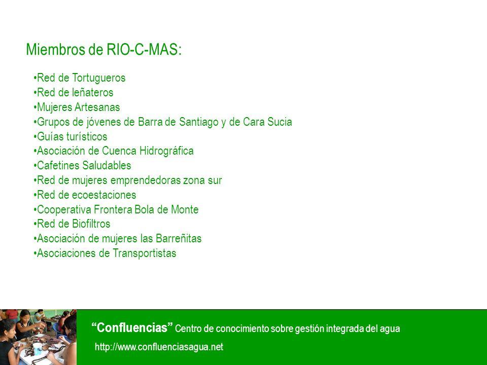 Red de Tortugueros Red de leñateros Mujeres Artesanas Grupos de jóvenes de Barra de Santiago y de Cara Sucia Guías turísticos Asociación de Cuenca Hid