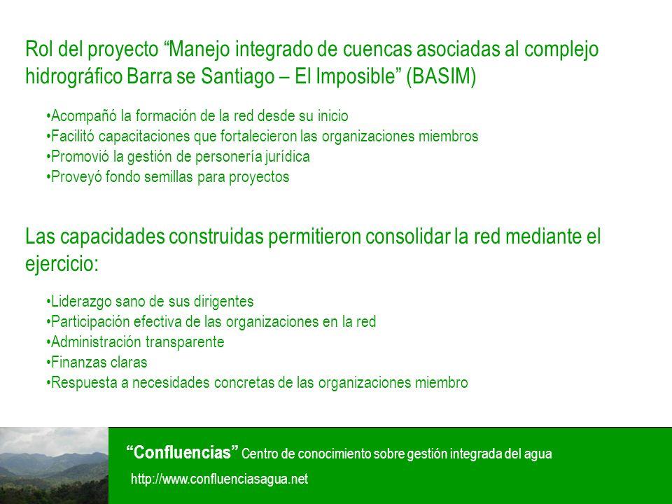 Confluencias Centro de conocimiento sobre gestión integrada del agua http://www.confluenciasagua.net Proyecciones futuras: Seguir fortaleciendo la estructura Consolidar el local de la organización Concretar los proyectos que están siendo gestionados en la actualidad Gestionar proyectos ante donantes