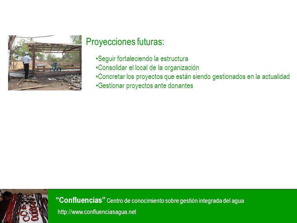Confluencias Centro de conocimiento sobre gestión integrada del agua http://www.confluenciasagua.net Proyecciones futuras: Seguir fortaleciendo la est