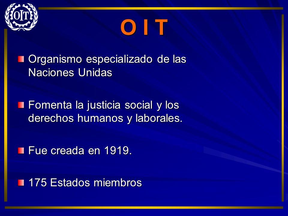 O I T Organismo especializado de las Naciones Unidas Fomenta la justicia social y los derechos humanos y laborales. Fue creada en 1919. 175 Estados mi