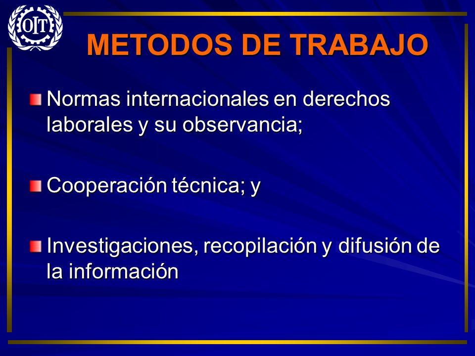 METODOS DE TRABAJO Normas internacionales en derechos laborales y su observancia; Cooperación técnica; y Investigaciones, recopilación y difusión de l