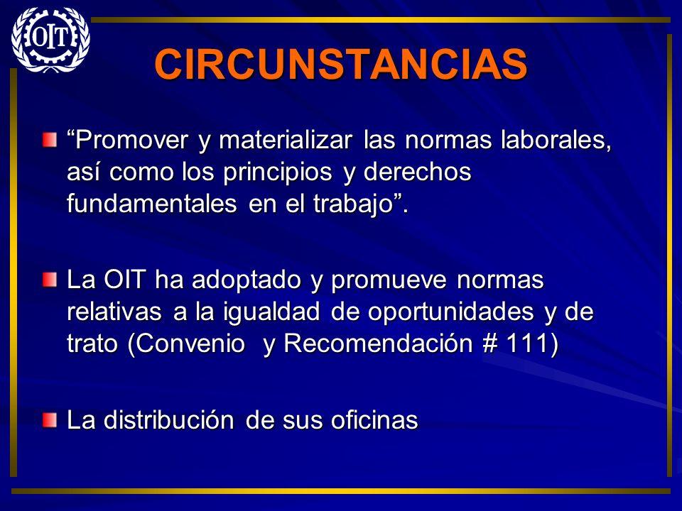 CIRCUNSTANCIAS Promover y materializar las normas laborales, así como los principios y derechos fundamentales en el trabajo. La OIT ha adoptado y prom