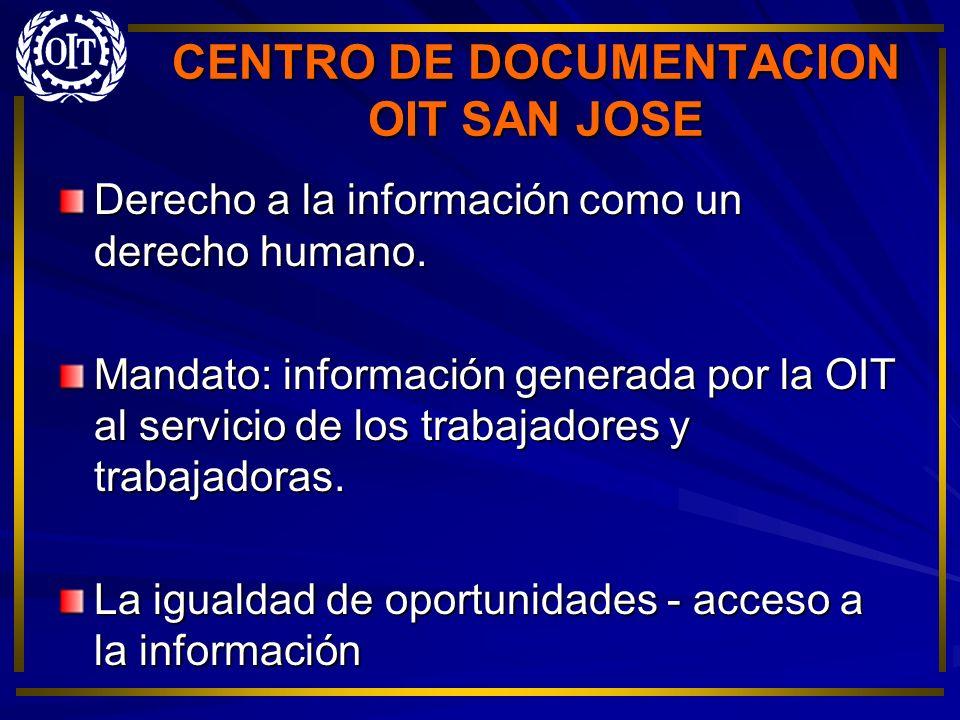 CENTRO DE DOCUMENTACION OIT SAN JOSE Derechos de autor Antes y después de la Metabase Estadísticas de servicios brindados por el Centro 50% de las consultas son sobre documentos OIT o temas afines.