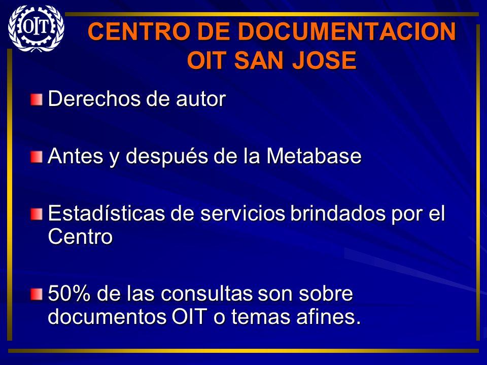 CENTRO DE DOCUMENTACION OIT SAN JOSE Derechos de autor Antes y después de la Metabase Estadísticas de servicios brindados por el Centro 50% de las con