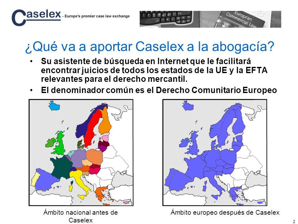 2 ¿Qué va a aportar Caselex a la abogacía? Su asistente de búsqueda en Internet que le facilitará encontrar juicios de todos los estados de la UE y la