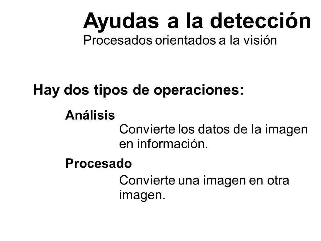 Ayudas a la detección Procesados orientados a la visión El procesado manipula la imagen para mejorar su percepción Eliminación de fondos: Detección de bordes: Destacado de formas: