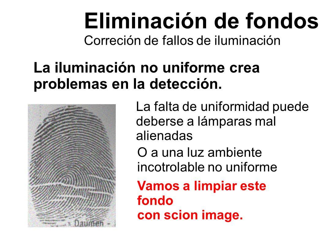 Eliminación de fondos Correción de fallos de iluminación La iluminación no uniforme crea problemas en la detección. Vamos a limpiar este fondo con sci