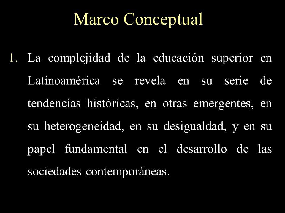 Marco Conceptual 1.La complejidad de la educación superior en Latinoamérica se revela en su serie de tendencias históricas, en otras emergentes, en su