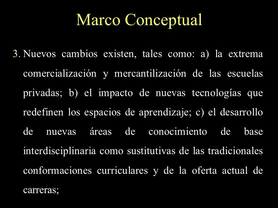 Marco Conceptual 3.Nuevos cambios existen, tales como: a) la extrema comercialización y mercantilización de las escuelas privadas; b) el impacto de nu