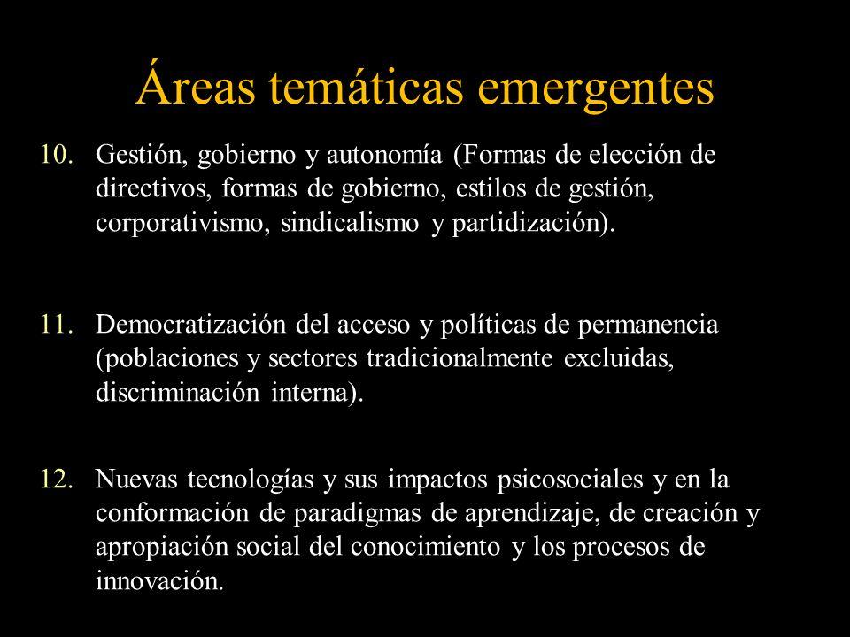 Áreas temáticas emergentes 10.Gestión, gobierno y autonomía (Formas de elección de directivos, formas de gobierno, estilos de gestión, corporativismo,