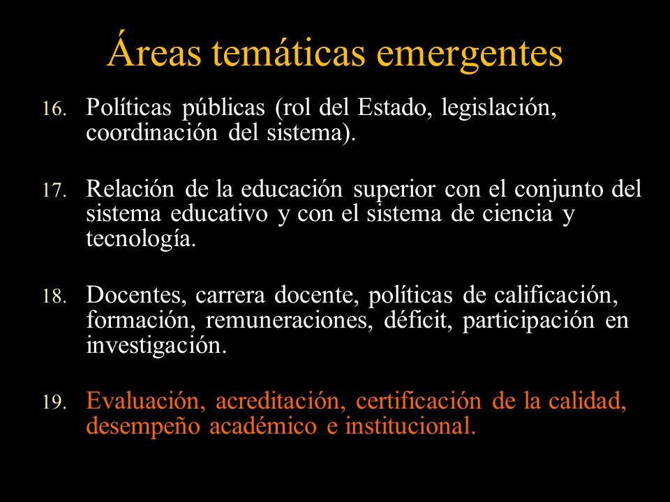 Áreas temáticas emergentes 16. Políticas públicas (rol del Estado, legislación, coordinación del sistema). 17. Relación de la educación superior con e