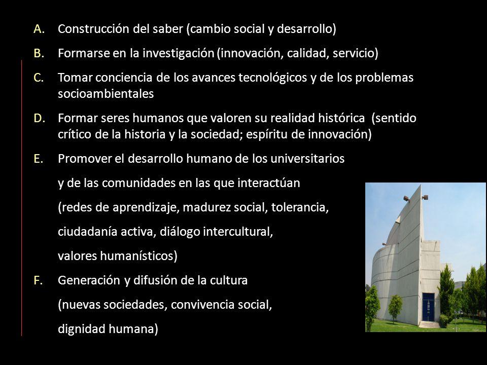 A.Construcción del saber (cambio social y desarrollo) B.Formarse en la investigación (innovación, calidad, servicio) C.Tomar conciencia de los avances