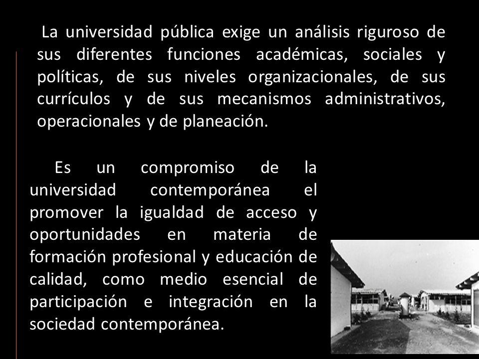 La universidad pública exige un análisis riguroso de sus diferentes funciones académicas, sociales y políticas, de sus niveles organizacionales, de su