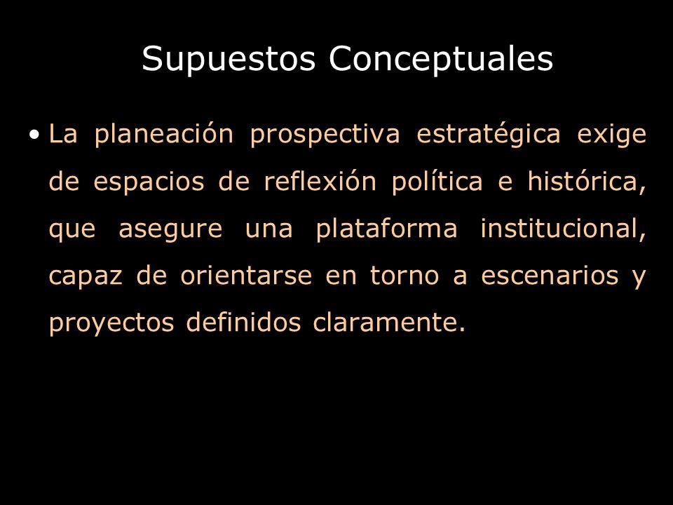 Supuestos Conceptuales La planeación prospectiva estratégica exige de espacios de reflexión política e histórica, que asegure una plataforma instituci