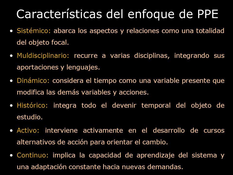 Características del enfoque de PPE Sistémico: abarca los aspectos y relaciones como una totalidad del objeto focal. Muldisciplinario: recurre a varias