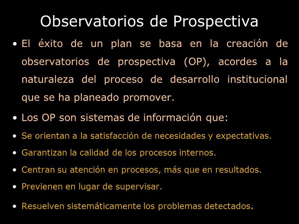 Observatorios de Prospectiva El éxito de un plan se basa en la creación de observatorios de prospectiva (OP), acordes a la naturaleza del proceso de d