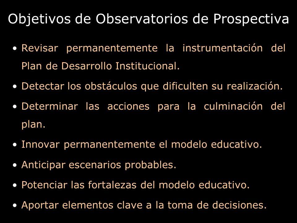 Objetivos de Observatorios de Prospectiva Revisar permanentemente la instrumentación del Plan de Desarrollo Institucional. Detectar los obstáculos que