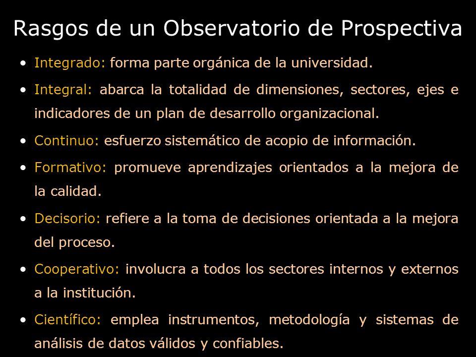 Rasgos de un Observatorio de Prospectiva Integrado: forma parte orgánica de la universidad. Integral: abarca la totalidad de dimensiones, sectores, ej