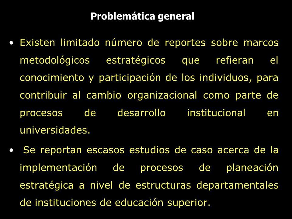 Problemática general Existen limitado número de reportes sobre marcos metodológicos estratégicos que refieran el conocimiento y participación de los i
