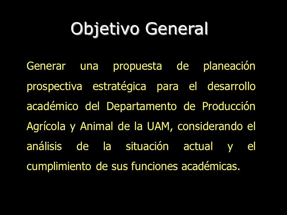 Generar una propuesta de planeación prospectiva estratégica para el desarrollo académico del Departamento de Producción Agrícola y Animal de la UAM, c