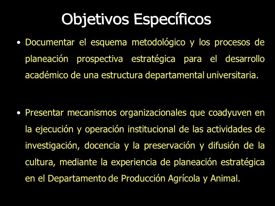 Documentar el esquema metodológico y los procesos de planeación prospectiva estratégica para el desarrollo académico de una estructura departamental u
