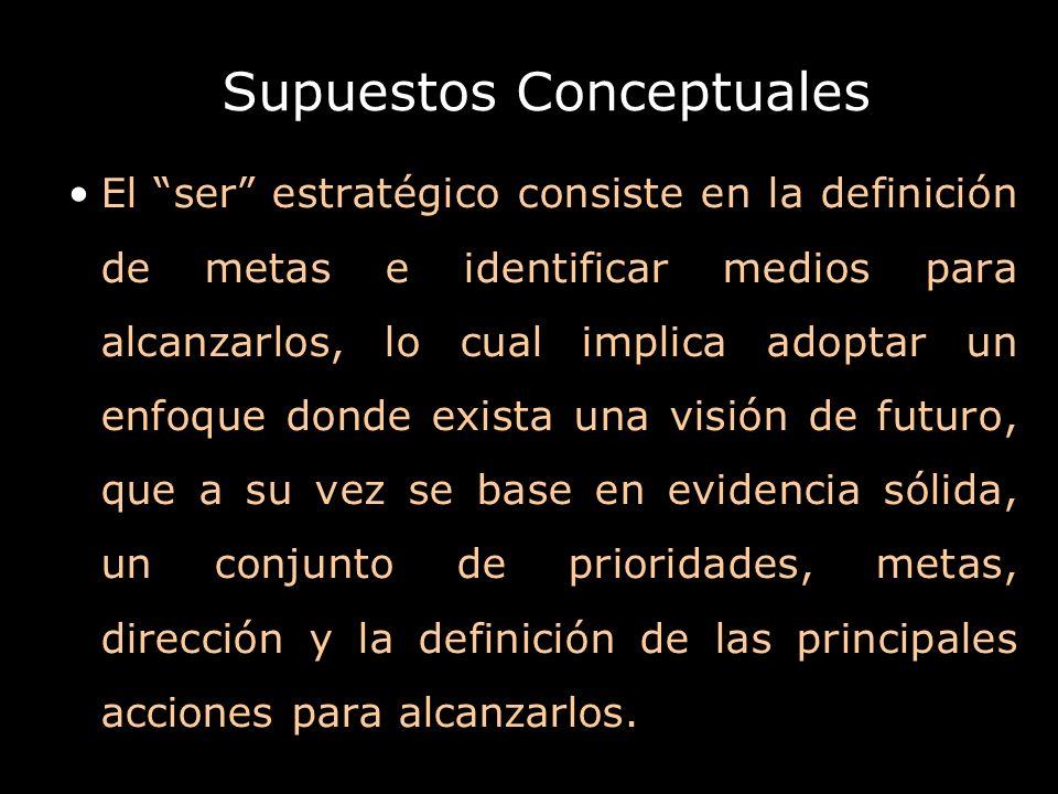 Supuestos Conceptuales El ser estratégico consiste en la definición de metas e identificar medios para alcanzarlos, lo cual implica adoptar un enfoque