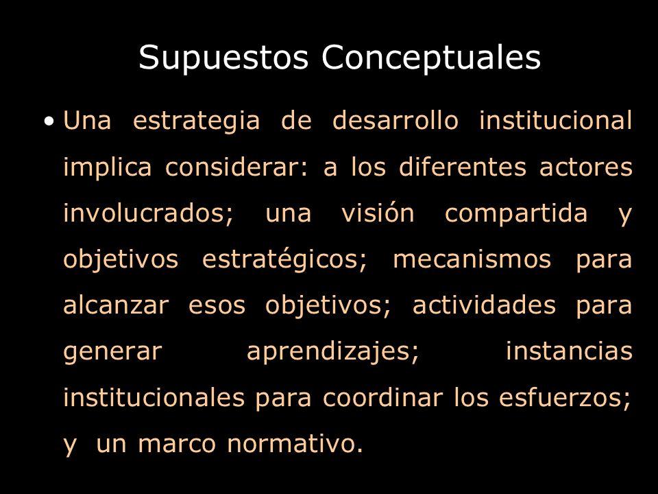 Supuestos Conceptuales Una estrategia de desarrollo institucional implica considerar: a los diferentes actores involucrados; una visión compartida y o