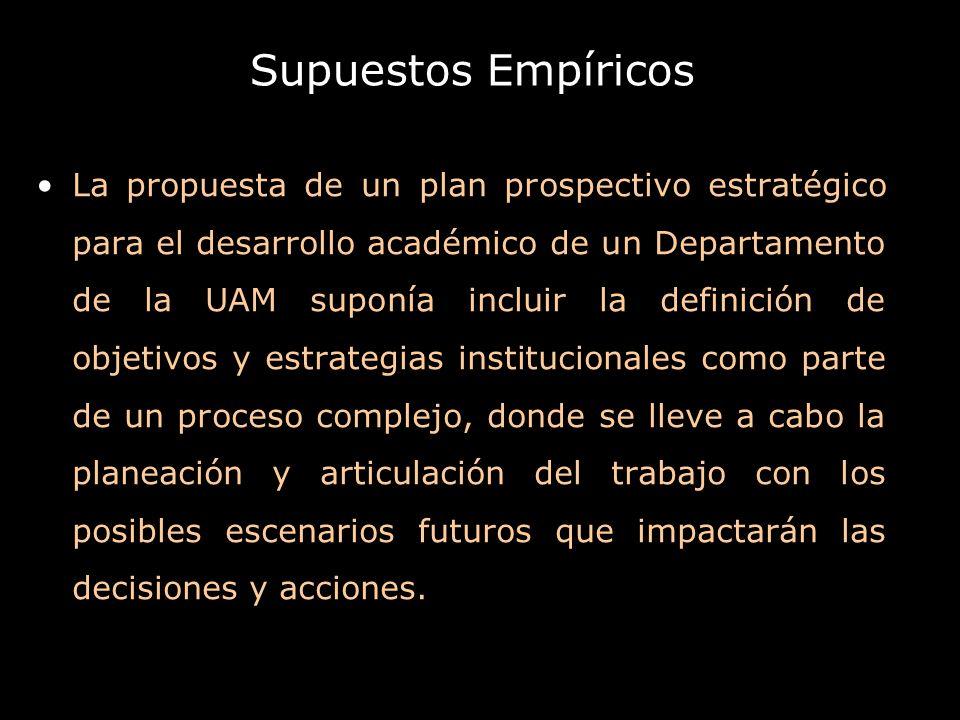 Supuestos Empíricos La propuesta de un plan prospectivo estratégico para el desarrollo académico de un Departamento de la UAM suponía incluir la defin