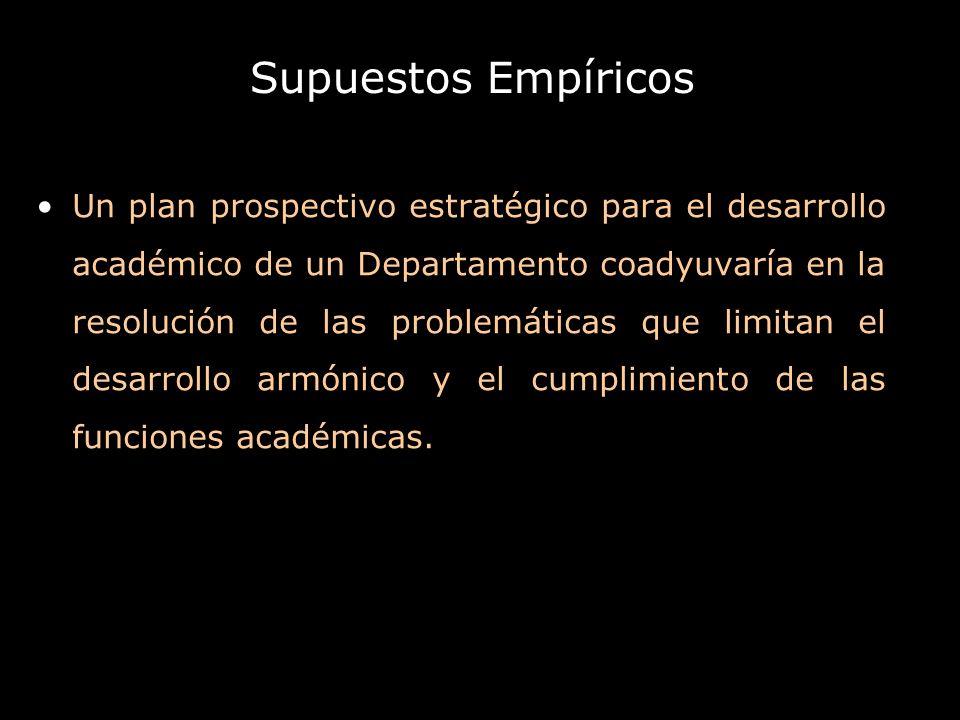Supuestos Empíricos Un plan prospectivo estratégico para el desarrollo académico de un Departamento coadyuvaría en la resolución de las problemáticas