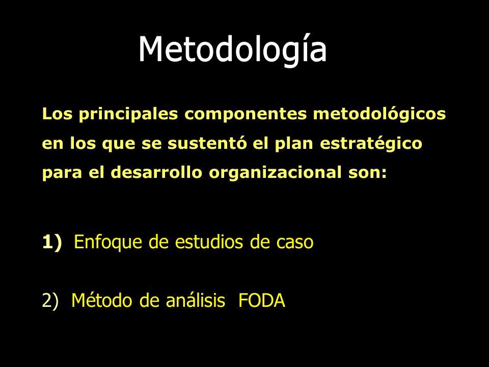 Los principales componentes metodológicos en los que se sustentó el plan estratégico para el desarrollo organizacional son: 1) Enfoque de estudios de