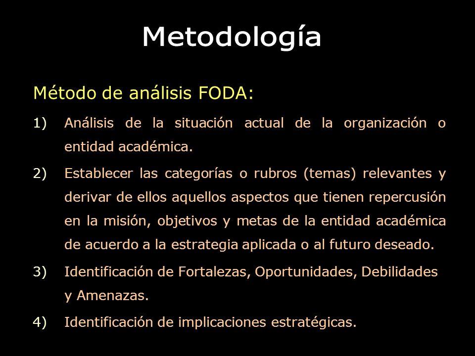 Método de análisis FODA: 1)Análisis de la situación actual de la organización o entidad académica. 2)Establecer las categorías o rubros (temas) releva
