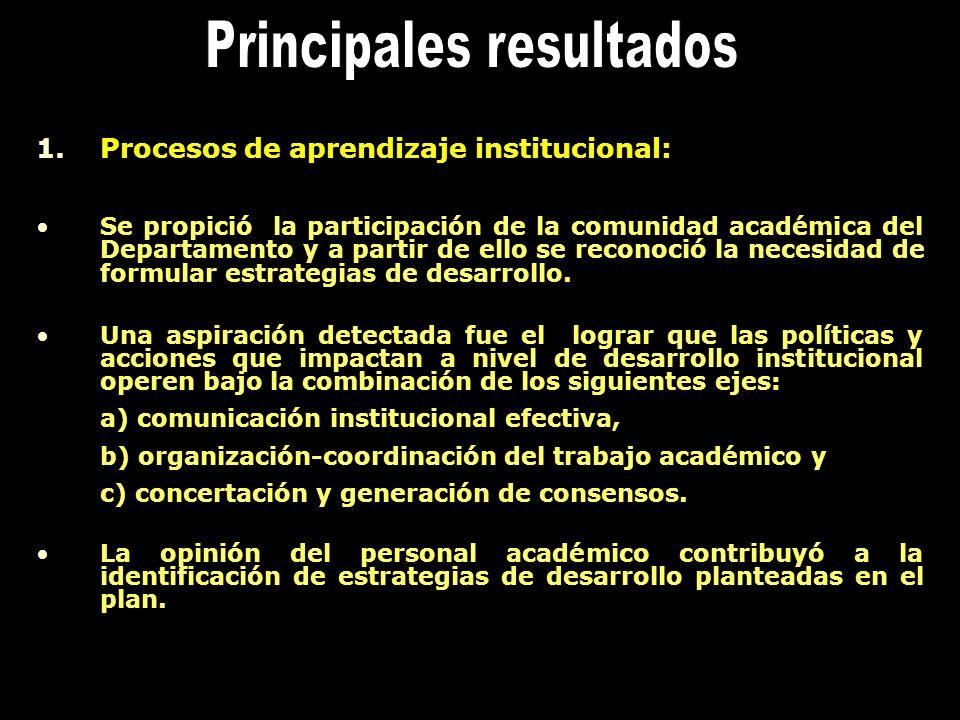 1.Procesos de aprendizaje institucional: Se propició la participación de la comunidad académica del Departamento y a partir de ello se reconoció la ne
