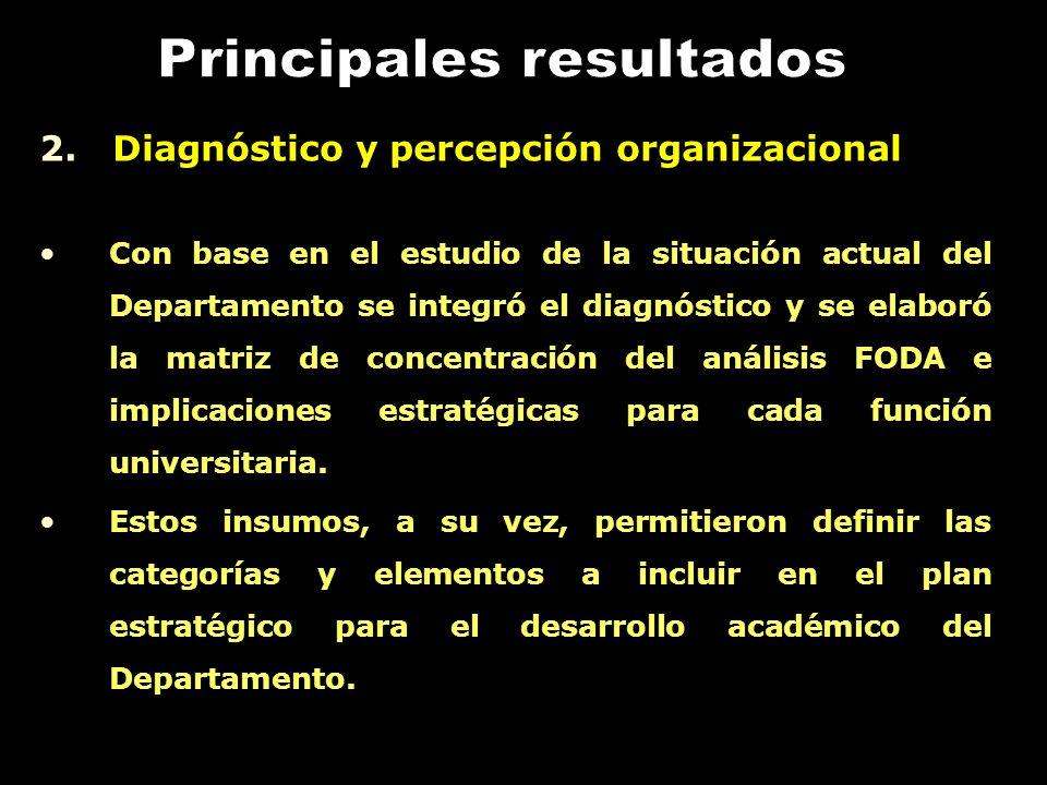 2. Diagnóstico y percepción organizacional Con base en el estudio de la situación actual del Departamento se integró el diagnóstico y se elaboró la ma