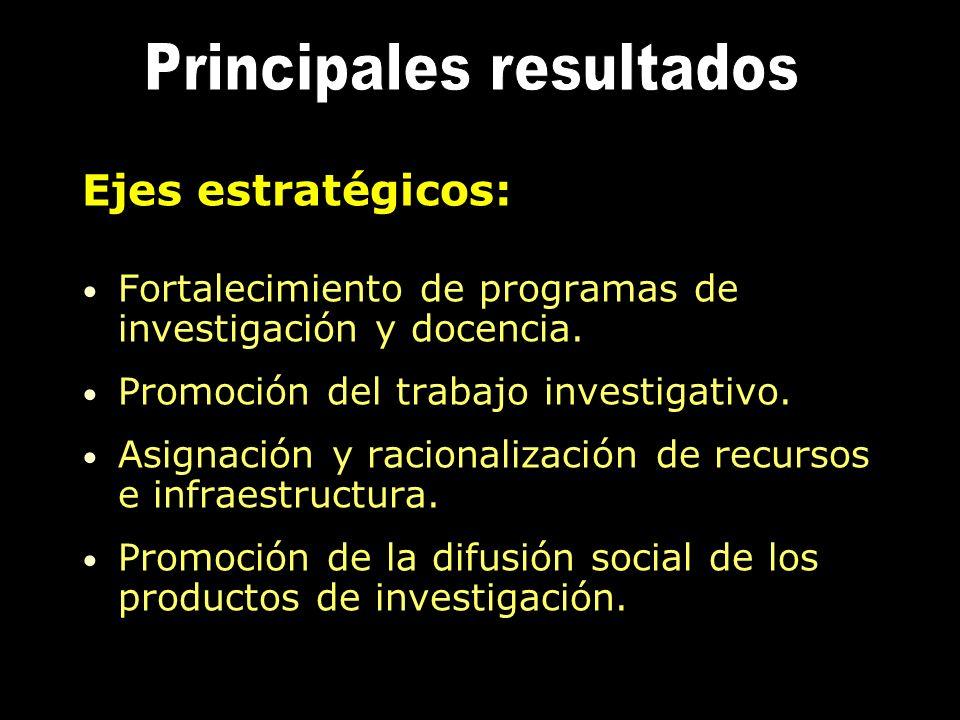 Ejes estratégicos: Fortalecimiento de programas de investigación y docencia. Promoción del trabajo investigativo. Asignación y racionalización de recu