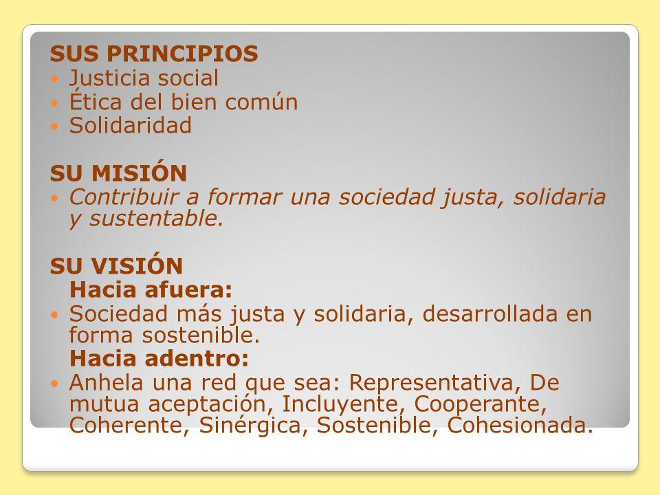 SUS PRINCIPIOS Justicia social Ética del bien común Solidaridad SU MISIÓN Contribuir a formar una sociedad justa, solidaria y sustentable. SU VISIÓN H