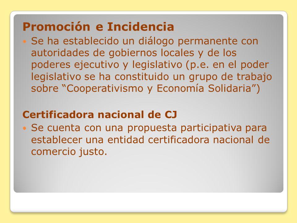 Promoción e Incidencia Se ha establecido un diálogo permanente con autoridades de gobiernos locales y de los poderes ejecutivo y legislativo (p.e. en
