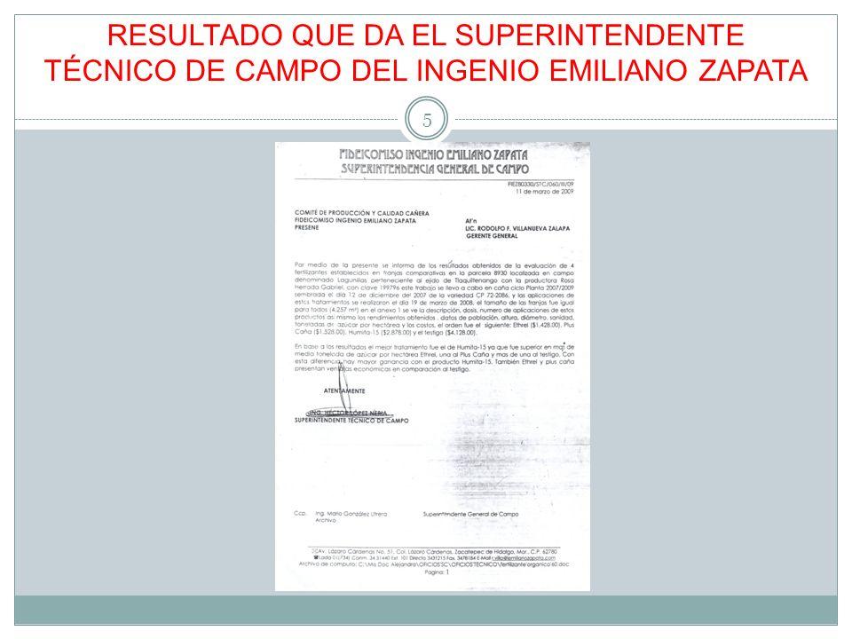 RESULTADO QUE DA EL SUPERINTENDENTE TÉCNICO DE CAMPO DEL INGENIO EMILIANO ZAPATA 5