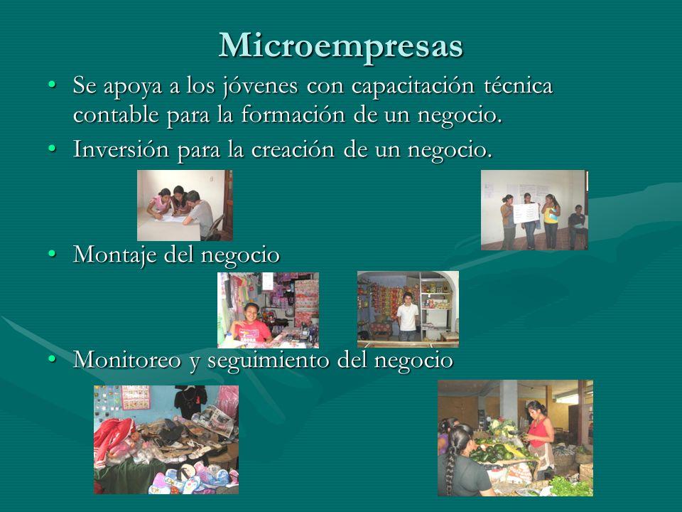 Microempresas Se apoya a los jóvenes con capacitación técnica contable para la formación de un negocio.Se apoya a los jóvenes con capacitación técnica