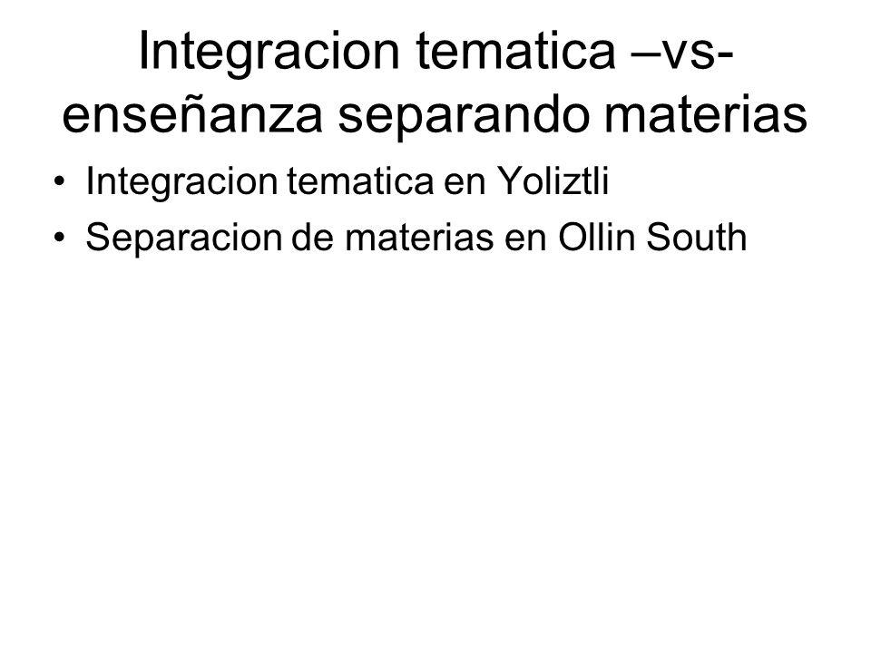 Integracion tematica –vs- enseñanza separando materias Integracion tematica en Yoliztli Separacion de materias en Ollin South