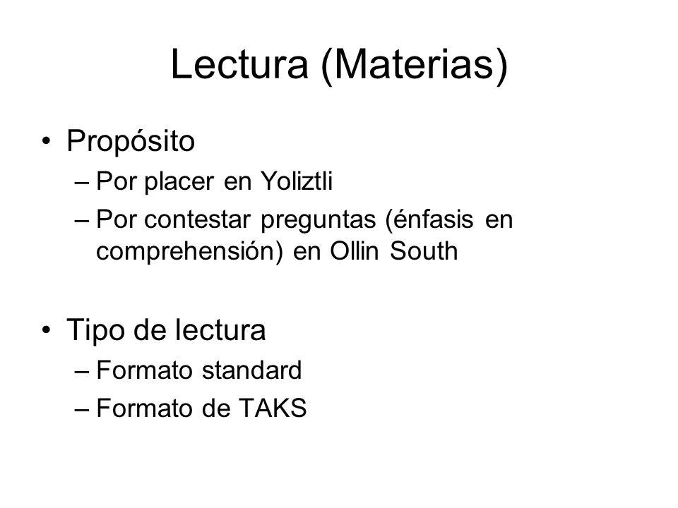 Lectura (Materias) Propósito –Por placer en Yoliztli –Por contestar preguntas (énfasis en comprehensión) en Ollin South Tipo de lectura –Formato stand