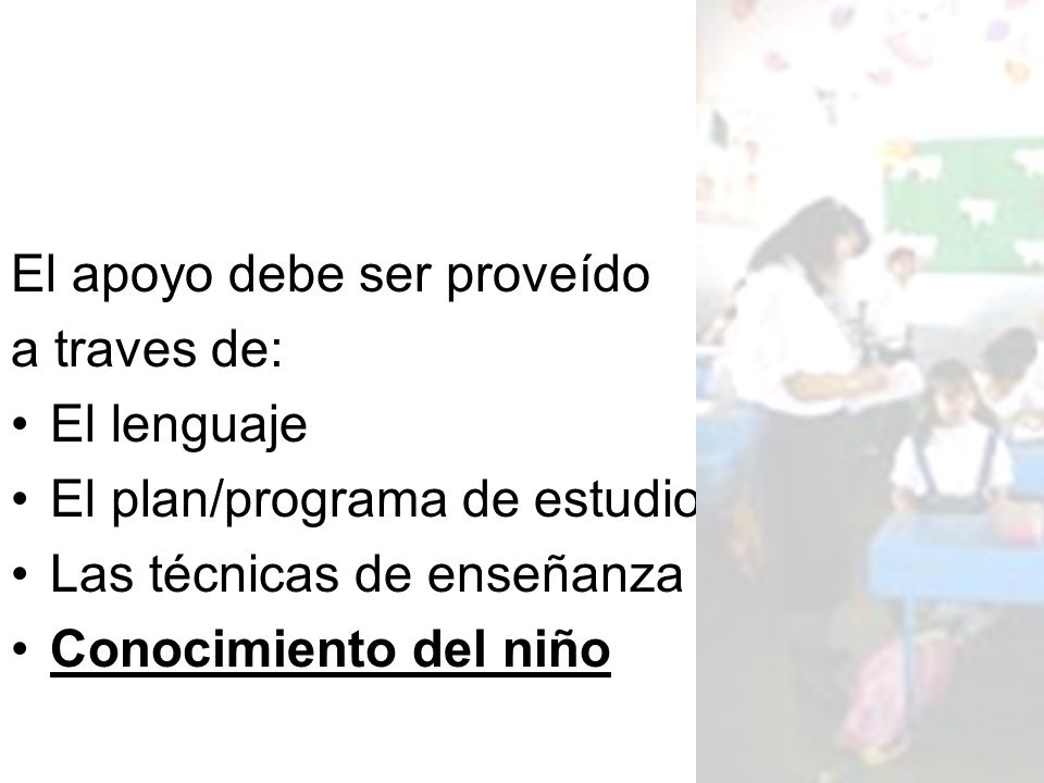 Hallazgos (Lenguaje) These school experiences are possible because the context of the school supports the recent immigrant students native language.