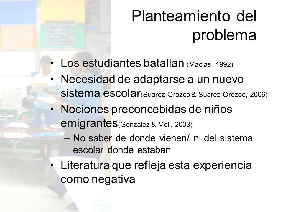 Los estudiantes batallan (Macias, 1992) Necesidad de adaptarse a un nuevo sistema escolar (Suarez-Orozco & Suarez-Orozco, 2006) Nociones preconcebidas