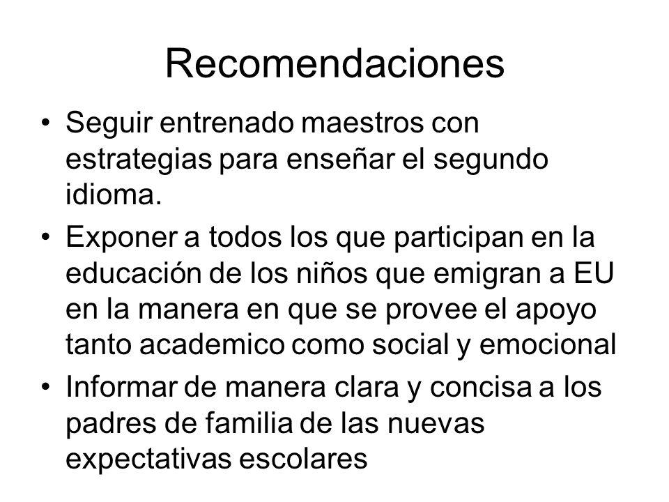 Recomendaciones Seguir entrenado maestros con estrategias para enseñar el segundo idioma. Exponer a todos los que participan en la educación de los ni